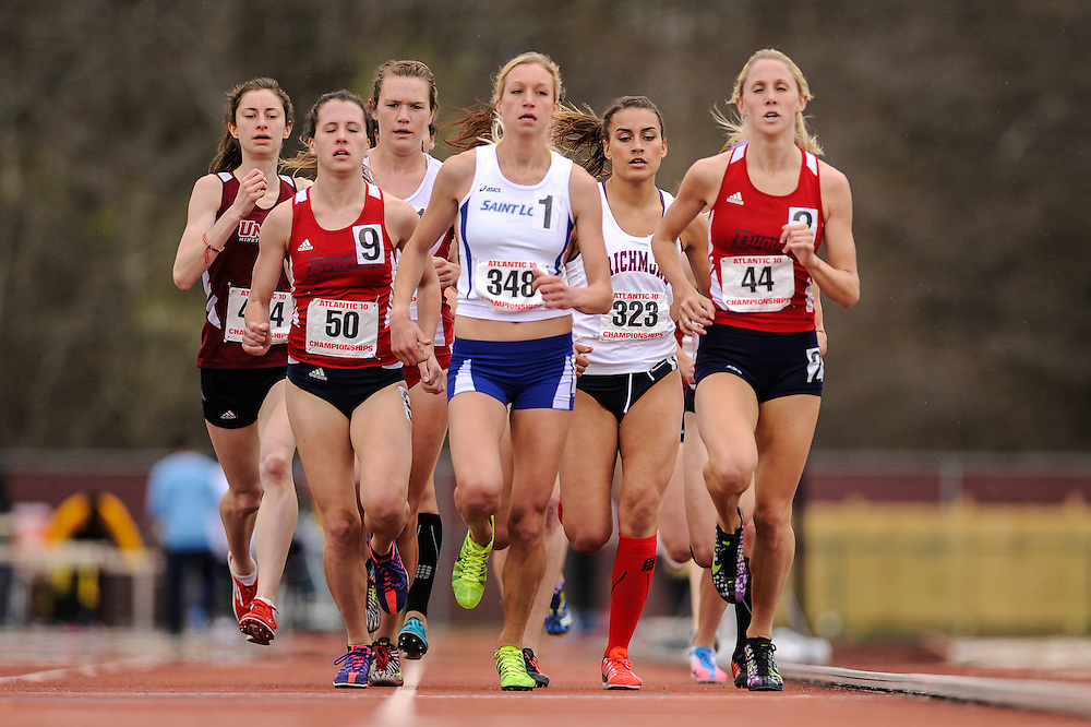 AMHERST, MA - MAY 4: Alyson McGonigle of the University of Richmond (323) competes in the women's 1500 meter run during Day 2 of the Atlantic 10 Outdoor Track and Field Championships at the University of Massachusetts Amherst Track and Field Complex on May 4, 2014 in Amherst, Massachusetts. (Photo by Daniel Petty/Atlantic 10)