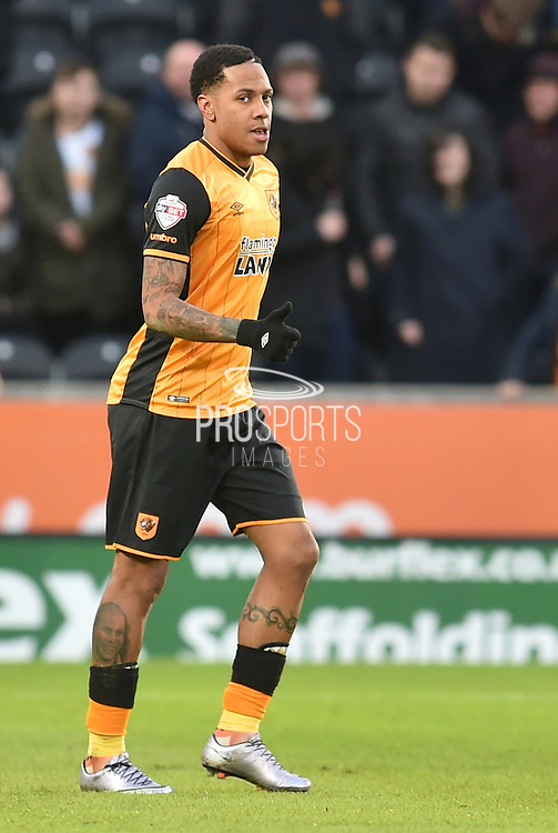Hull City striker Abel Hernandez (9) gives the thumbs up to his team mates after scoring his second goal to go 2-0 up  during the Sky Bet Championship match between Hull City and Charlton Athletic at the KC Stadium, Kingston upon Hull, England on 16 January 2016. Photo by Ian Lyall.