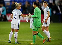 Isobel Christiansen of England shakes hands with Tatyana Shcherbak of Russia at full time - Mandatory by-line: Matt McNulty/JMP - 19/09/2017 - FOOTBALL - Prenton Park - Birkenhead, United Kingdom - England v Russia - FIFA Women's World Cup Qualifier
