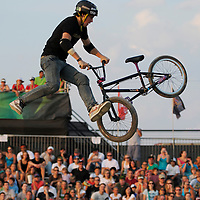 James Foster competes at the AST Dew Tour Right Guard Open BMX Dirt Finals Friday, July 18, 2008 in Cleveland, OH.