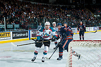 KELOWNA, CANADA - MARCH 31: Joe Gatenby #37 of the Kamloops Blazers back checks Rodney Southam #17 of the Kelowna Rockets on March 31, 2017 at Prospera Place in Kelowna, British Columbia, Canada.  (Photo by Marissa Baecker/Shoot the Breeze)  *** Local Caption ***