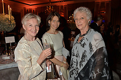Left to right, DAME ANTOINETTE SIBLEY, LADY SARAH CHATTO and DAME MONICA MASON at a dinner hosted by the Royal Academy of Dance to present the Queen Elizabeth II Award 2014 held at Claridge's, Brook Street, London on 4th September 2014.
