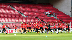 August 31, 2017 - Copenhagen, Denmark - The Polish national football team takes part in a trainig session on the eve of their FIFA World Cup 2018 qualification football match Denmark vs Poland on August 31, 2017 in Telia Parken, Copenhagen, Denmark. (Credit Image: © Foto Olimpik/NurPhoto via ZUMA Press)