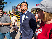 09 AUGUST 2019 - DES MOINES, IOWA: ANREW YANG walks through the Iowa State Fair Friday. Yang, an entrepreneur, is running for the Democratic nomination for the US Presidency in 2020. He spoke at the Des Moines Register Political Soapbox at the Iowa State Fair Friday. Iowa hosts the the first election event of the presidential election cycle. The Iowa Caucuses will be on Feb. 3, 2020.        PHOTO BY JACK KURTZ
