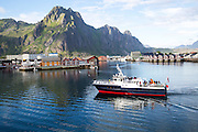 Tourist boat in harbour at Svolvaer, Lofoten Islands, Nordland, Norway