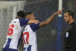 November 6, 2018 - Porto, Porto, Portugal - Porto's Mexican forward Jesus Corona (R) celebrates after scoring a goal with Porto's Mexican midfielder Hector Herrera (L) during the UEFA Champions League, match between FC Porto and FC Lokomotiv Moscow, at Dragao Stadium in Porto on November 6, 2018 in Porto, Portugal. (Credit Image: © Dpi/NurPhoto via ZUMA Press)