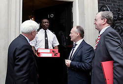 © Licensed to London News Pictures. 15/09/2011. London, United Kingdom .(L-R) James Chestnutt, UK Chairman of cruise porter lines and Hampshire chamber of commerce. Cllr Royston Smith. David Foley Chief Executive Dover district chamber of commerce..Petition being delivered to No.10 Downing Street by a coalition of politicians and business leaders against Liverpool's cruise terminal proposal..Photo credit : Chris Winter/LNP