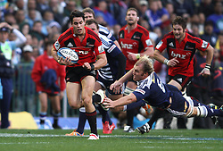 Crusaders wing Sean Maitland breaks through to head for the try line as Stormers captain Schalk Burger fails make the tackle during the Super Rugby Semi-Final match between DHL Stormers and the Crusaders held at DHL Newlands Stadium in Cape Town, South Africa on 2 July 2011...Photo by Shaun Roy / Sportzpics.net