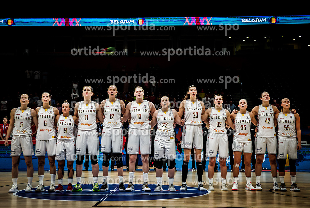 Players of Belgium listening to the National anthem during basketball match between Women National teams of Belgium and Slovenia in the Qualification for the Quarter-Finals of Women's Eurobasket 2019, on July 2, 2019 in Belgrade Arena, Belgrade, Serbia. Photo by Vid Ponikvar / Sportida