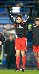 LONDON, ENGLAND - Wednesday, December 19, 2007: Liverpool's Xabi Alonso warms-up before the League Cup Quarter Final match against Chelsea at Stamford Bridge. (Photo by David Rawcliffe/Propaganda)