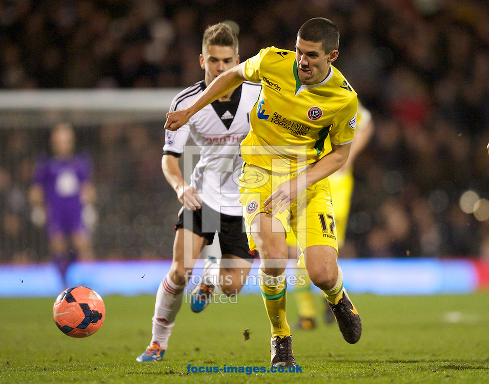 Picture by Alan Stanford/Focus Images Ltd +44 7915 056117<br /> 04/02/2014<br /> Conor Coady of Sheffield United comes away with the ball during the The FA Cup match at Craven Cottage, London
