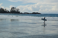 Chesterman Beach, near Tofino, BC Canada, approximately 3 kilometers of white sand and scattered rock outcroppings, is a well-known West Coast surf spot.