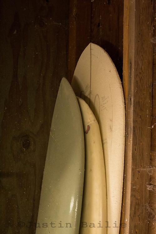 Seth Cannon Shaping surfboards in Nehalem, Oregon.