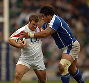 2005 Rugby, Investec Challenge, England vs Manu Samoa, Lee MEARS [left] hands of Samoan No. 8 Dan Farani.  RFU Twickenham, ENGLAND:     26.11.2005   © Peter Spurrier/Intersport Images - email images@intersport-images..