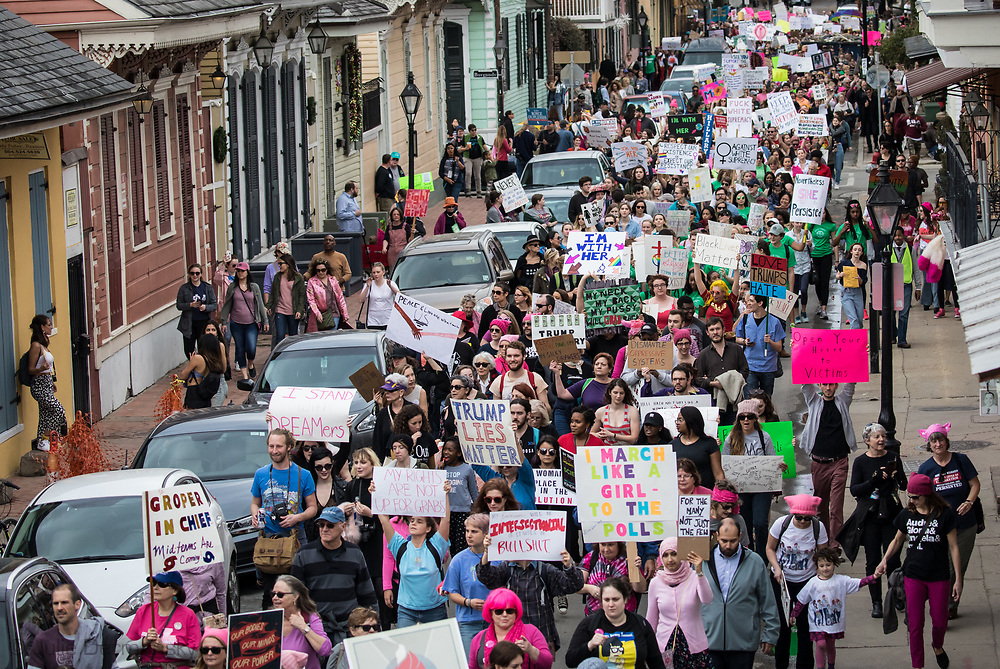 Thousands of people marching in New Orleans Women's March on January 20, 2018.