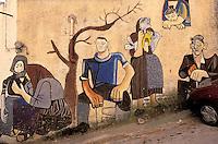 Italie. Sardaigne. Province de Nuoro. Peinture murale dans le village d'Orgosolo. // Italy. Sardinia. Nuoro province. Orgosolo town. Wall painting.