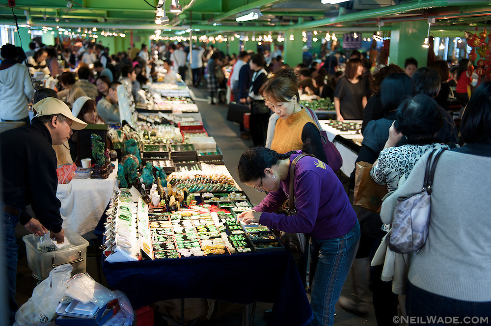 Jade jewelery and handi-crafts for sale at the Taipei Jade Market.