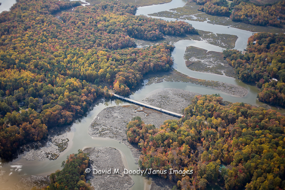 Aerial Photos of College Creek in Fall. November 2007 Colonial Parkway at the James River