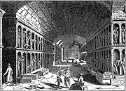 Catacomb of the Capuchin (Franciscan) convent, Palermo, with remains of departed Friars . Woodcut of 1833