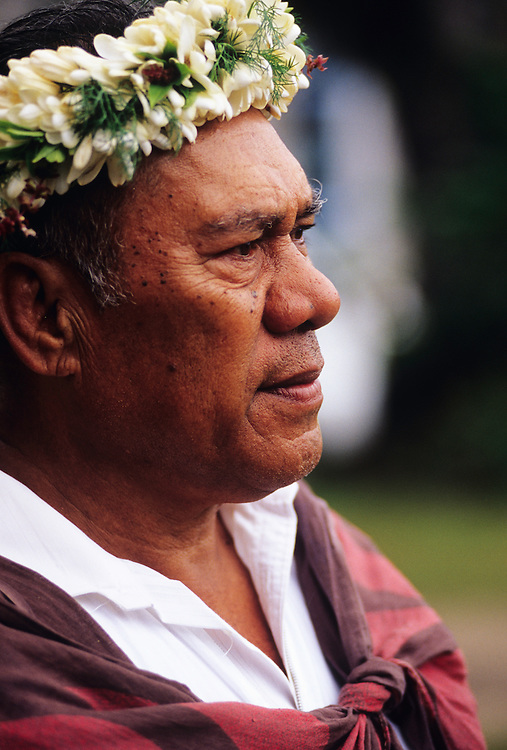 Cook Islands, K?ki '?irani, South Pacific Ocean, Rarotonga, native islanders wearing lei at local church celebration