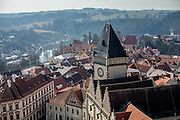 "View from the tower of ""The Church of the Transfiguration of Our Lord"" at the South Bohemian city of Tabor. A group of Jan Hus followers came to a hill where a Premyslid settlement used to be and they founded a town there in the year 1420 and gave it a Biblical name - Tabor. Being led by captains Jan Zizka of Trocnov and Prokop Holy they started out on their victorious battles from there. The foundation of Tabor is connected with the name of Jan Hus, a great reformer of the Catholic Church."