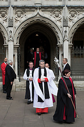 © Licensed to London News Pictures. 20/06/2016. London, UK. A procession from St Margaret's Church, Westminster Abbey after a Service of Prayer and Remembrance to commemorate Jo Cox MP, who was killed in her constituency on June 16, 2016. Photo credit: Peter Macdiarmid/LNP