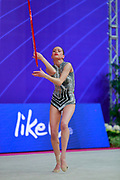Vladinova Neviana during the qualifying hoop at the Pesaro World Cup 2018. Neviana come from Bulgaria. She is born in Pleven in 1994. Her dream is to win a medal at the 2020 Olympic Games in Tokyo