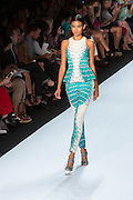 Aqua blue and white pants and matching sleeveless top in a marine-inspired print. By Monique Lhuillier at Spring 2013 Fall Fashion Week in New York.