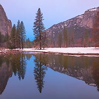 Morning twilight reflections, Merced River, Yosemite National Park, CA