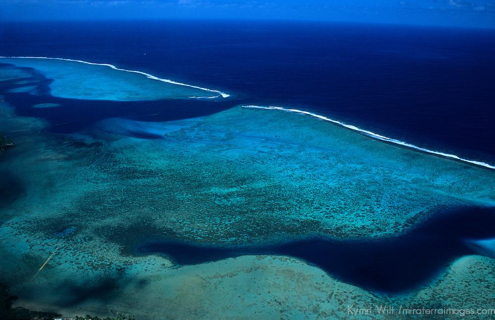 Oceania, South Pacific, French Polynesia, Tahiti, Bora Bora. Aerial view of the reefs along the coast of Bora Bora.