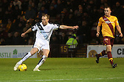 Dundee&rsquo;s Gary Irvine fires in a shot - Motherwell v Dundee - Ladbrokes Premiership at Fir Park<br /> <br /> <br />  - &copy; David Young - www.davidyoungphoto.co.uk - email: davidyoungphoto@gmail.com