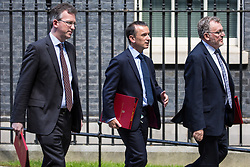 London, UK. 21 May, 2019. David Mundell MP, Secretary of State for Scotland, Alun Cairns MP, Secretary of State for Wales, and Jeremy Wright QC MP, Secretary of State for Digital, Culture, Media and Sport, leave 10 Downing Street following a Cabinet meeting.