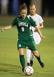 Loyola Greyhounds midfielder Lea Day (9) in action against UVA.  The #6 Virginia Cavaliers defeated the Loyola College Greyhounds 4-0 in a NCAA Women's Soccer game held at Klockner Stadium on the Grounds of the University of Virginia in Charlottesville, VA on August 22, 2008.