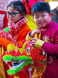 © Licensed to London News Pictures. 03/02/2019. Chatham, UK. Members of the Chinese community celebrate the Chinese New Year in Chatham, Kent. This years event, which officially takes place on Tuesday, 5 February, marks the year of the Pig.. Photo credit: Graham Long/LNP