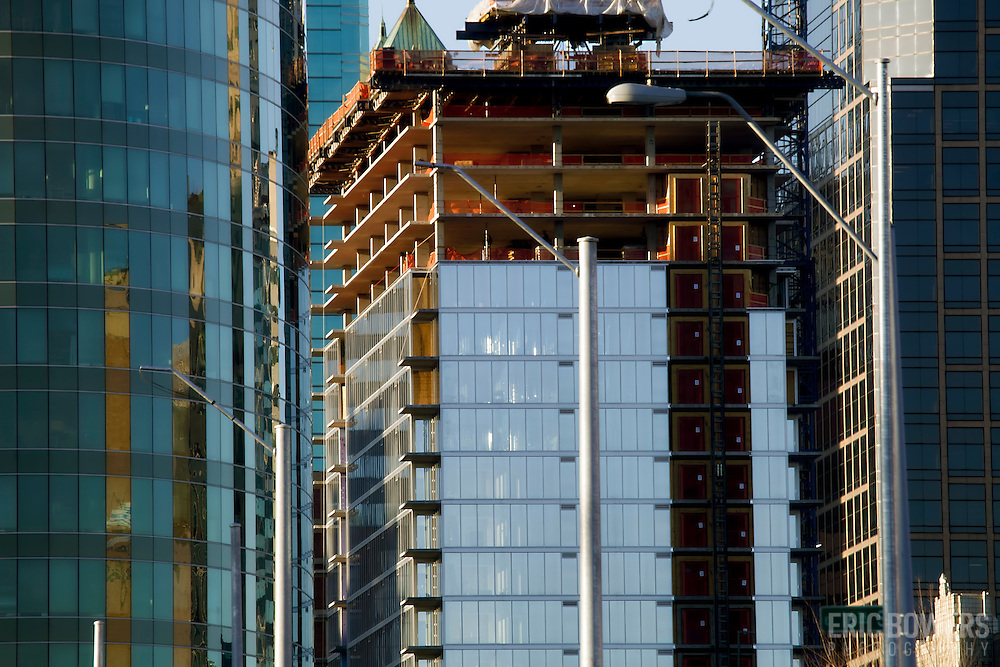 Construction progress on One Light Tower residential high-rise in downtown Kansas City, MO.