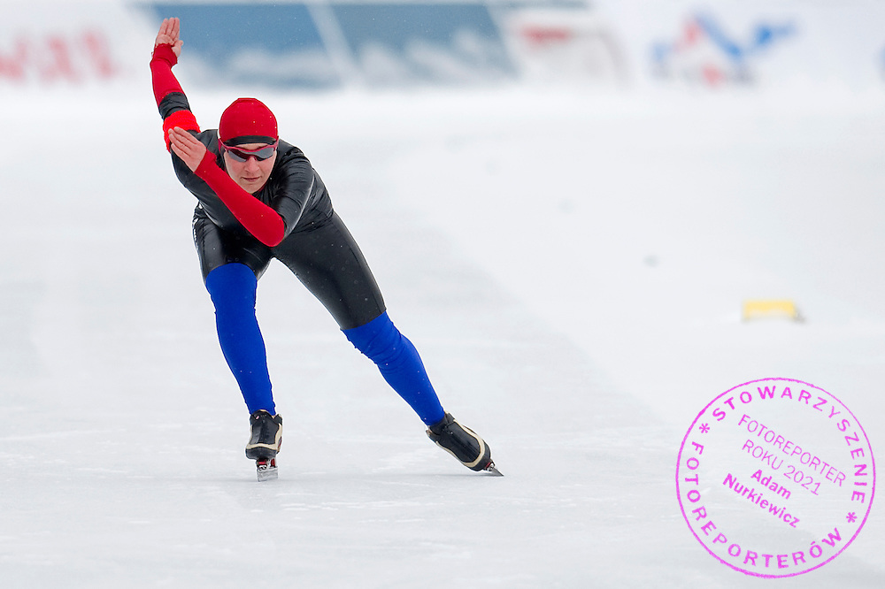 Aleksandra Debowska (KS Pilica Tomaszow Mazowiecki) from Poland competes during Polish Championships at Sprint Speed Skating competition on Stagny Ice Track in Warsaw, Poland on January 29, 2014.<br /> <br /> Poland, Warsaw, January 29, 2014.<br /> <br /> Picture also available in RAW (NEF) or TIFF format on special request.<br /> <br /> For editorial use only. Any commercial or promotional use requires permission.<br /> <br /> Mandatory credit:<br /> Photo by &copy; Adam Nurkiewicz / Mediasport