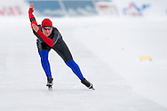 Aleksandra Debowska (KS Pilica Tomaszow Mazowiecki) from Poland competes during Polish Championships at Sprint Speed Skating competition on Stagny Ice Track in Warsaw, Poland on January 29, 2014.<br /> <br /> Poland, Warsaw, January 29, 2014.<br /> <br /> Picture also available in RAW (NEF) or TIFF format on special request.<br /> <br /> For editorial use only. Any commercial or promotional use requires permission.<br /> <br /> Mandatory credit:<br /> Photo by © Adam Nurkiewicz / Mediasport