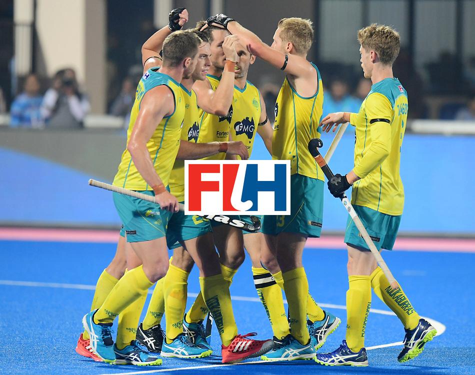 Odisha Men's Hockey World League Final Bhubaneswar 2017<br /> Match id:15<br /> Spain v Australia<br /> Foto: Jeremy Hayward (Aus) scored 1-1<br /> COPYRIGHT WORLDSPORTPICS FRANK UIJLENBROEK