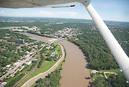 aerial image of downtown Lawrence, KS and Kansas river