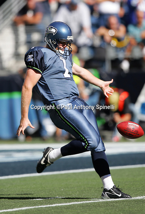 SEATTLE - SEPTEMBER 24:  Punter Ryan Plackemeier of the Seattle Seahawks punts the ball to the New York Giants at Qwest Field on September 24, 2006 in Seattle, Washington. The Seahawks defeated the Giants 42-30. ©Paul Anthony Spinelli *** Local Caption *** Ryan Plackemeier