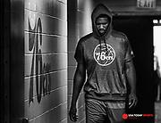 Oct 26, 2016; Philadelphia, PA, USA; (Editor's Note: Photo was converted to black and white) Philadelphia 76ers center Joel Embiid walks out of the tunnel for his first regular season game in the NBA against the Oklahoma City Thunder at Wells Fargo Center. Mandatory Credit: Bill Streicher-USA TODAY Sports