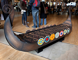 © Licensed to London News Pictures. 22/01/2012. London, U.K..Oseburg Viking Ship coffin..Boxed Exhibition at the Royal Festival Hall on the South Bank, London, showing fabulous weird and whacky coffins from the UK and Ghana..Photo credit : Rich Bowen/LNP