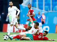 Omid Ebrahimi (Iran) and Younes Belhanda (Morocco)<br /> Saint Petersburg 15-06-2018 Football FIFA World Cup Russia  2018 <br /> Morocco - Iran / Marocco - Iran <br /> Foto Matteo Ciambelli/Insidefoto