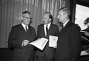 03/08/1967<br /> 08/03/1967<br /> 03 August 1967<br /> Henry Weldon of Boston investing in Gael-Linn bonds at the Intercontinental Hotel, Dublin.  <br /> Mr. Henry Weldon, (left), President, Irish American Heritage Society, Boston and who was formerly Headmaster, Cork City Vocational Schools, investing in Gael-Linn Bonds before returning to America after the European Tour of the Society. Also in the image are Mr. Donal Ó Moráin, (centre) Ceannasai, and Ribald Mac Góráin, manger Gael-Linn.