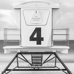 Pensacola Beach lifeguard tower 4 panorama photo in black and white at Casino Beach. Pensacola Beach Florida is a coastal city on Santa Rosa Island in the Southeastern United States of America. Copyright ⓒ 2018 Paul Velgos with All Rights Reserved.