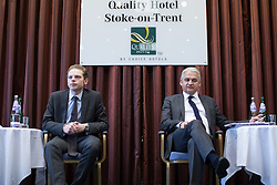 © Licensed to London News Pictures . 16/02/2017. Stoke-on-Trent, UK. JACK BRERETON and PATRICK O'FLYNN . Hustings in Stoke-on-Trent Central by-election at the Quality Hotel in Stoke , for local businesses with Lib Dem candidate Dr Zulfiqar Ali, Conservative candidate Jack Brereton,  Labour candidate Gareth Snell and, in place of UKIP candidate Paul Nuttall who didn't turn up , Patrick O'Flynn . Photo credit: Joel Goodman/LNP