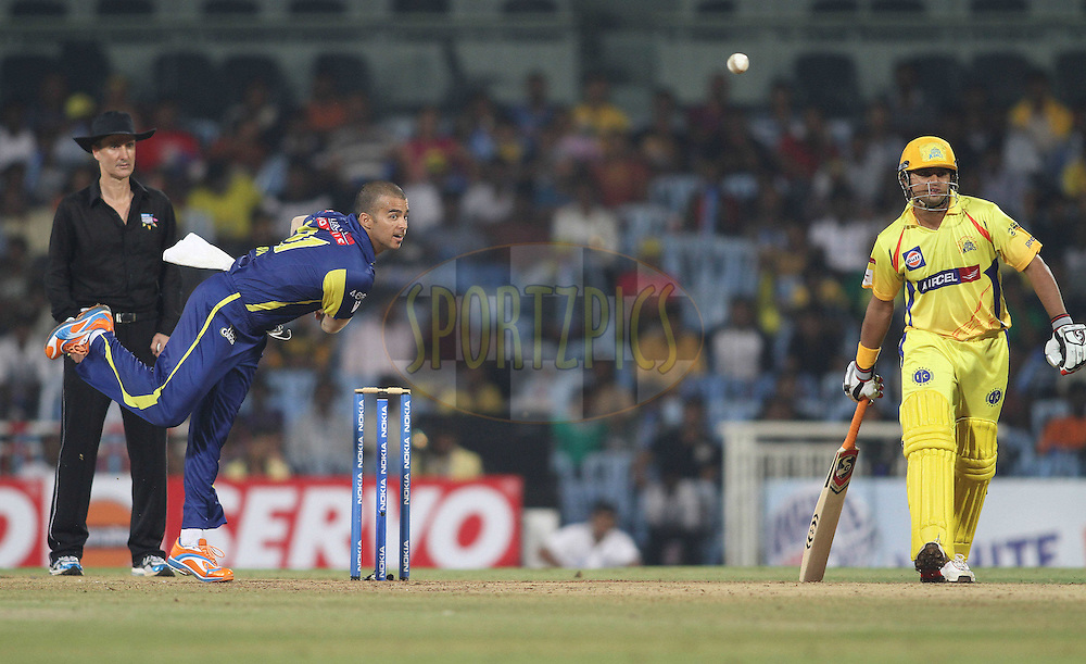 Jean-Paul Duminy of the Cape Cobras sends down a delivery during match 9 of the NOKIA Champions League T20 ( CLT20 )between the Chennai Superkings and the Cape Cobras held at the M. A. Chidambaram Stadium in Chennai , Tamil Nadu, India on the 28th September 2011..Photo by Shaun Roy/BCCI/SPORTZPICS