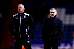 Oldham Athletic manager Paul Scholes and Morecambe manager Jim Bentley - Mandatory by-line: Robbie Stephenson/JMP - 19/02/2019 - FOOTBALL - Boundary Park - Oldham, England - Oldham Athletic v Morecambe - Sky Bet League Two