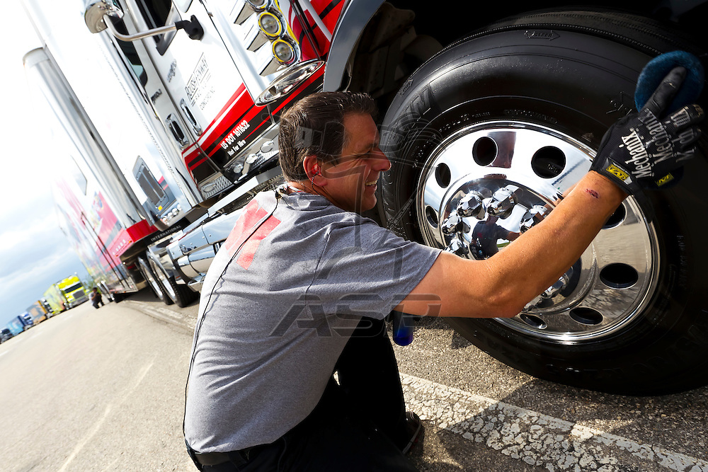 KANSAS CITY, KS - APR 19, 2012:  The 3M hauler gets some attention before entering to park  for the STP 400 at the Kansas Speedway in Kansas City, KS.