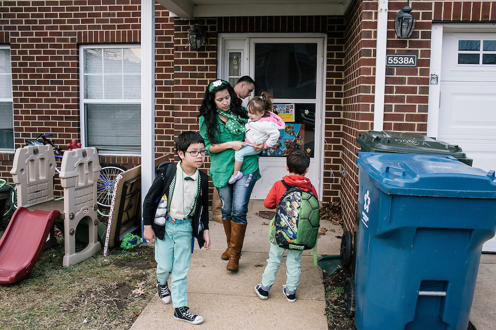Larissa Camilleri and husband Matthew Camilleri get their kids ready for school at their home on the Joint Base Anacostia-Bolling in SW Washington, D.C. on March 17, 2015.